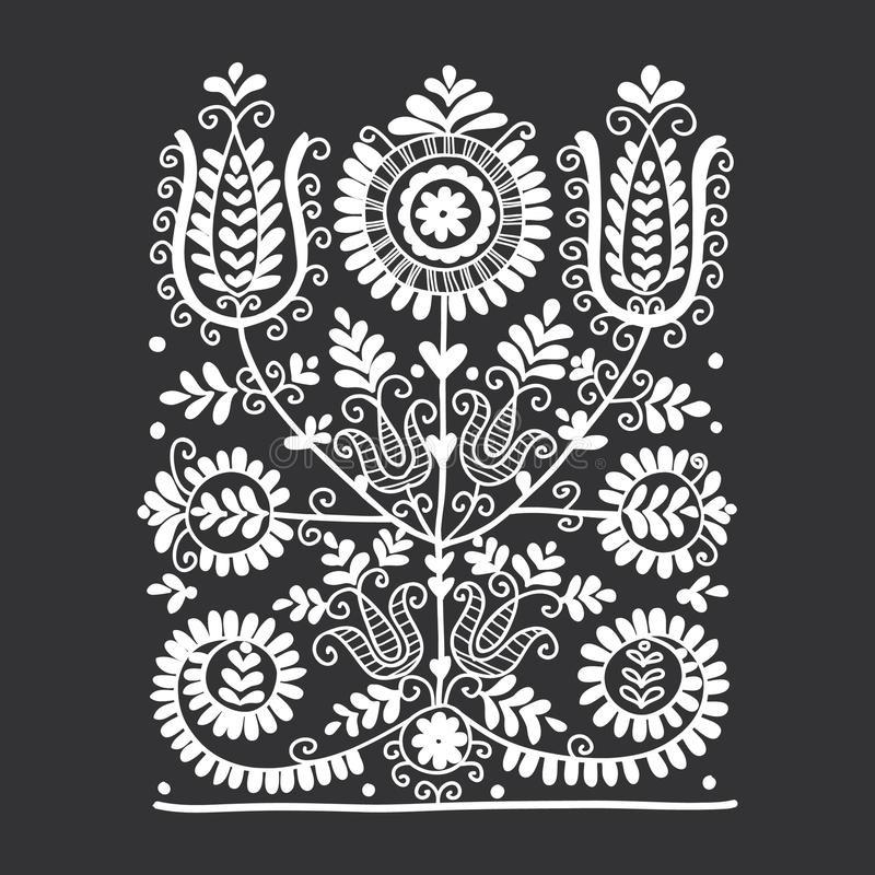 Ornamento popular floral ilustración del vector