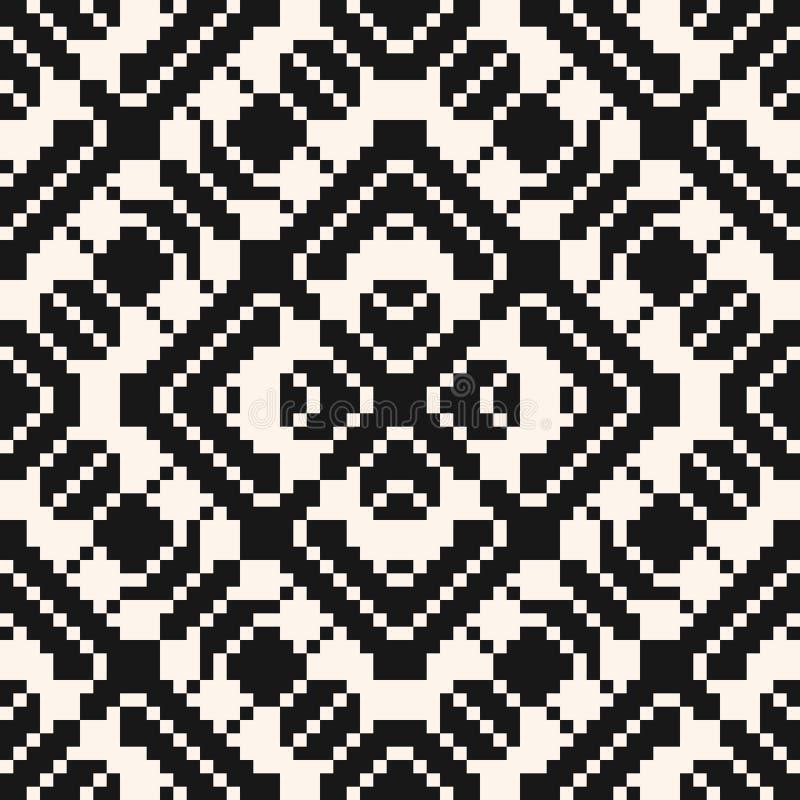Ornamento popular tradicional geom?trico do vetor Teste padr?o sem emenda preto e branco ilustração royalty free