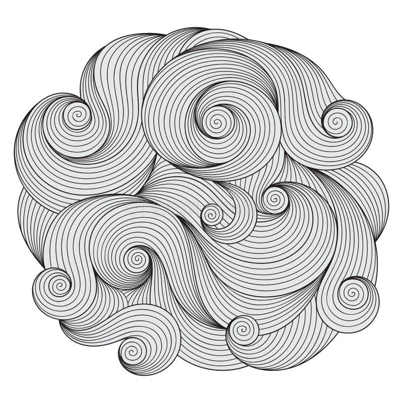 Ornamento preto e branco da onda do círculo, desi redondo decorativo do laço ilustração stock