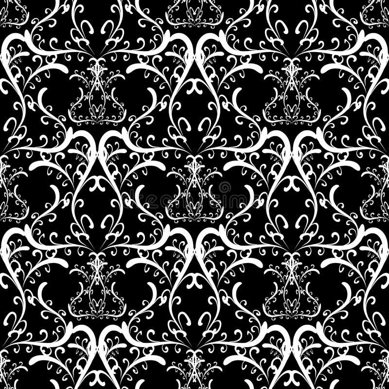 Ornamento preto e branco do damasco ilustração stock