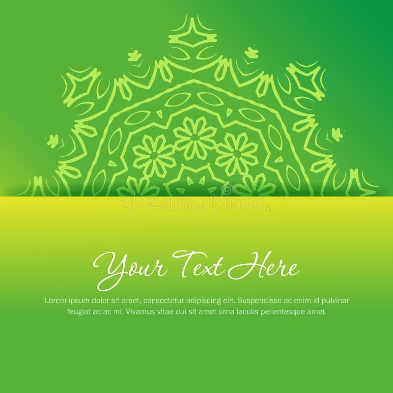 Ornamento redondo abstracto en colores verdes y amarillos ilustración del vector