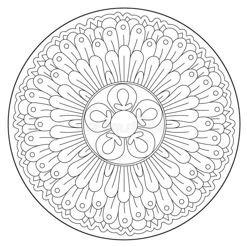 Ornamento redondo bonito colorindo ilustração stock