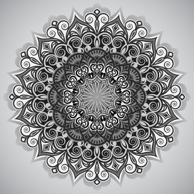 Ornamento redondo da flor ilustração royalty free