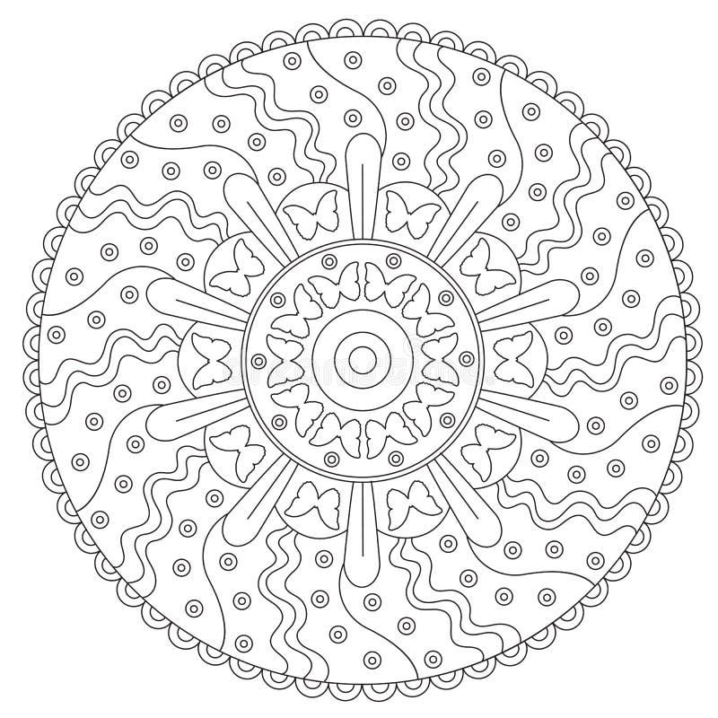 Ornamento redondo de la mariposa del colorante ilustración del vector