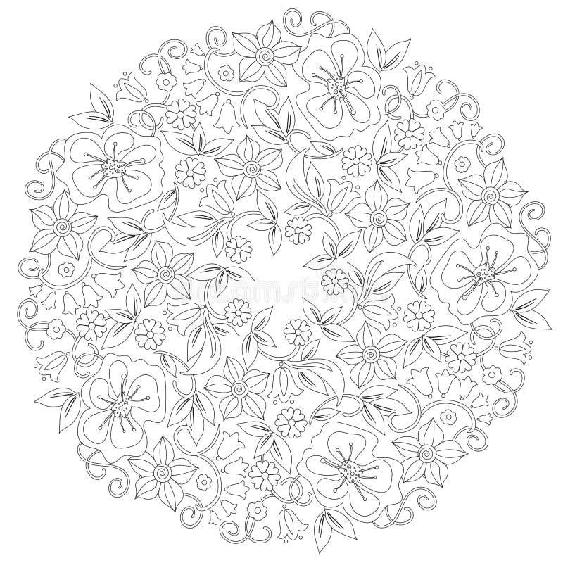 Ornamento redondo floral da garatuja em preto e branco Página para o livro para colorir: trabalho de relaxamento para crianças e  ilustração do vetor