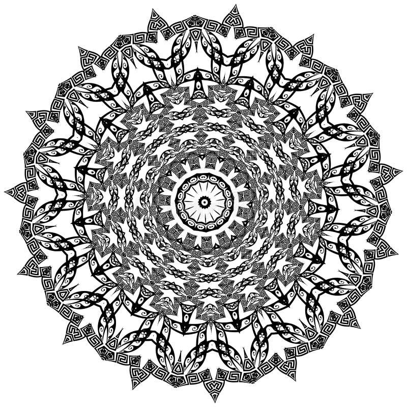 Ornamento redondo grego da mandala O vetor isolou o teste padr?o preto do meandro no fundo branco Mandala tribal com chave grega ilustração royalty free