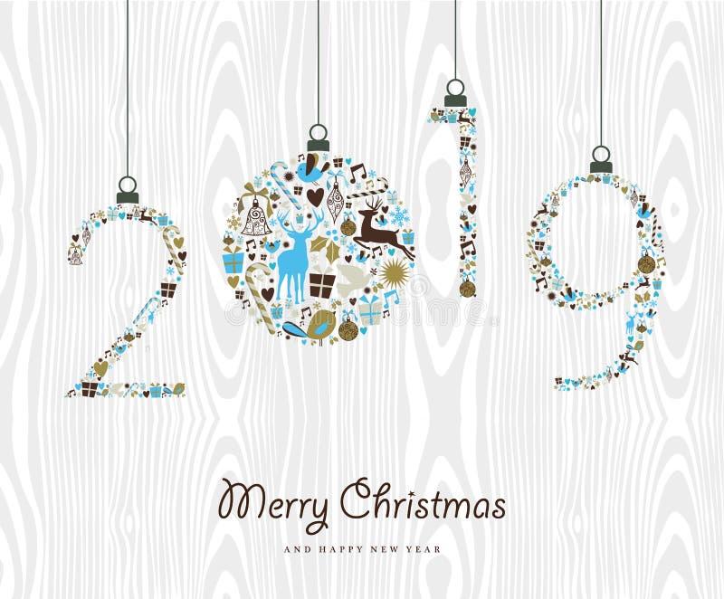 Ornamento retro de la Feliz Año Nuevo 2019 de la Feliz Navidad stock de ilustración