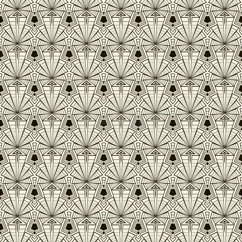 Ornamento retro inconsútil del modelo del art déco Parte posterior elegante geométrica stock de ilustración