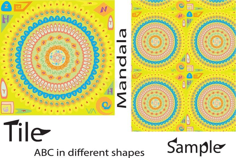 Ornamento rico de la teja de las formas de mandalas coloridas Patte inconsútil stock de ilustración