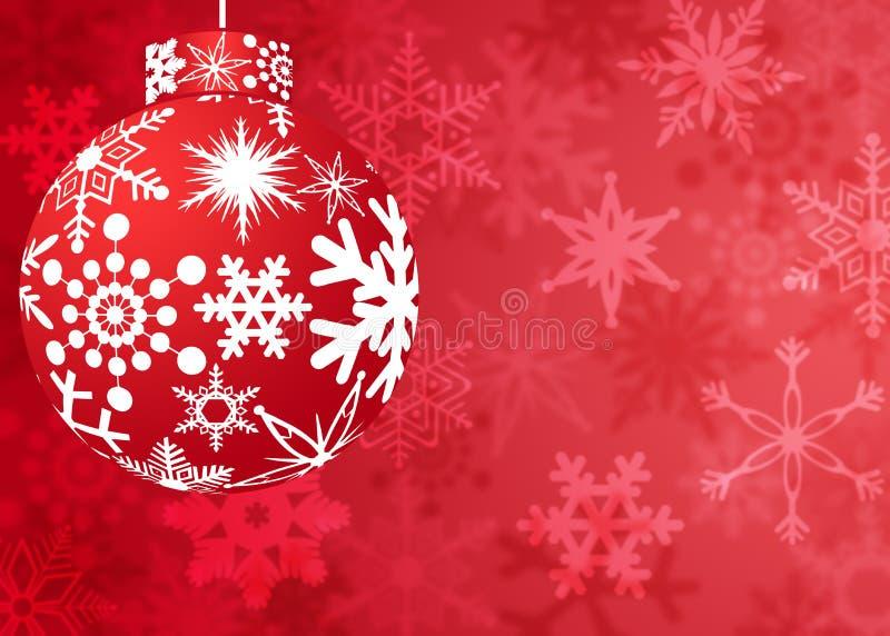 Ornamento rojo de la Navidad con el modelo de los copos de nieve ilustración del vector