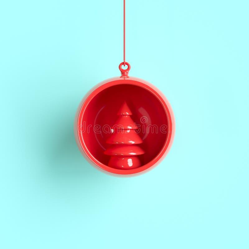 Ornamento rojo de la Navidad del árbol en vidrio rojo del mercurio en fondo azul stock de ilustración