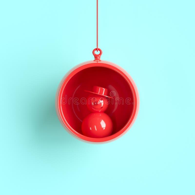 Ornamento rojo de la Navidad del muñeco de nieve en vidrio rojo del mercurio en fondo azul ilustración del vector