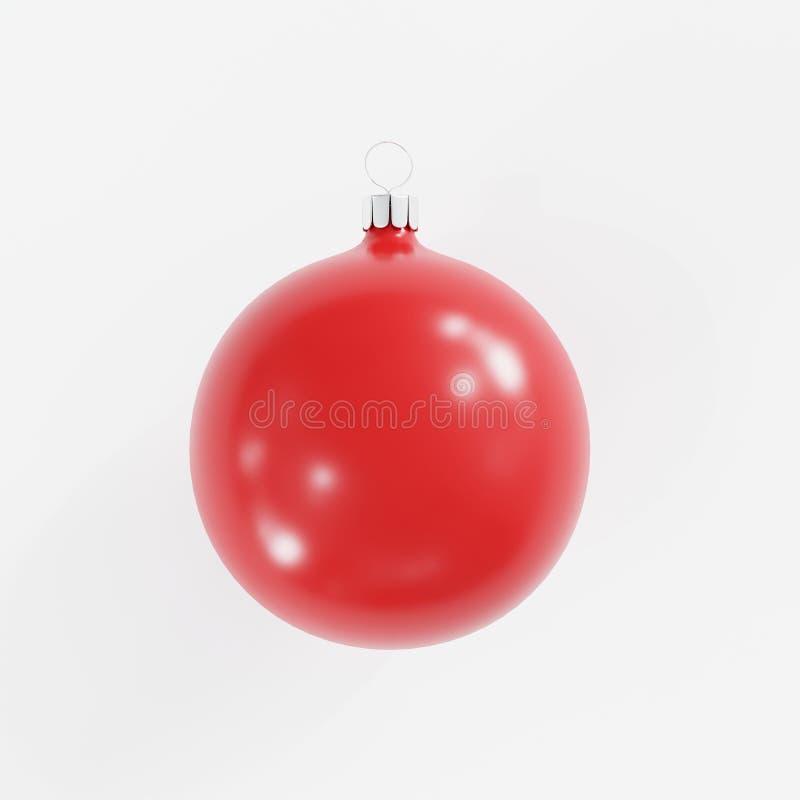 Ornamento rojo de la Navidad del vidrio del mercurio en el fondo blanco ilustración del vector