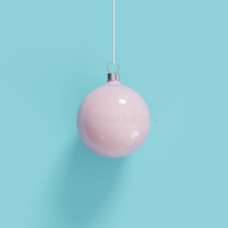 Ornamento rosado de la Navidad del vidrio del mercurio en fondo azul ilustración del vector