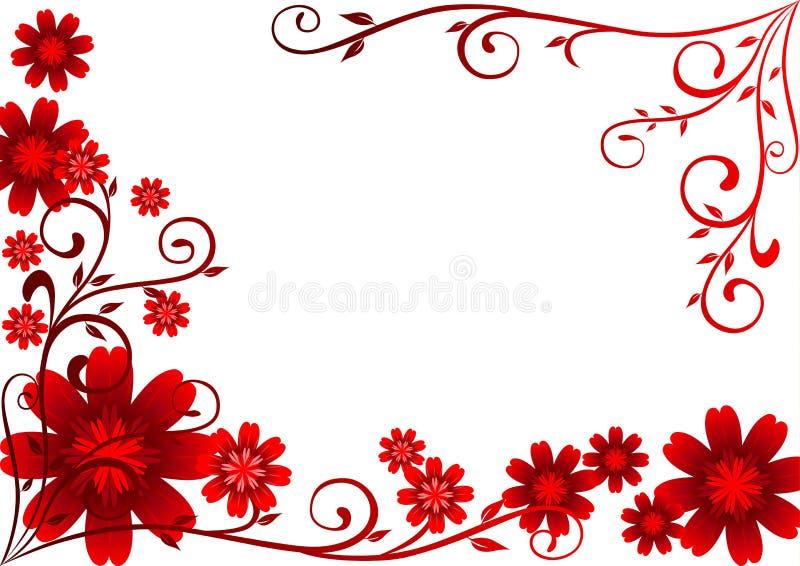 Ornamento rosso dei fiori illustrazione vettoriale