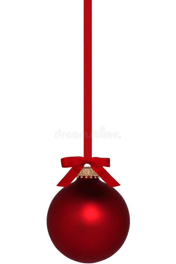 Ornamento rosso di Natale con l'arco fotografie stock
