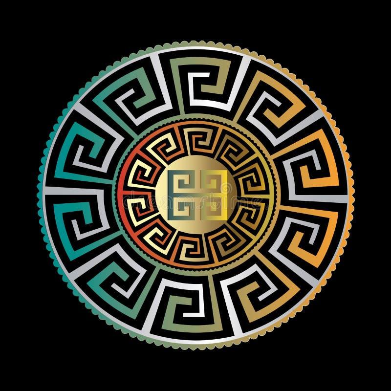 Ornamento rotondo antico Modello blu o di meandro del nero dell'oro di vettore royalty illustrazione gratis