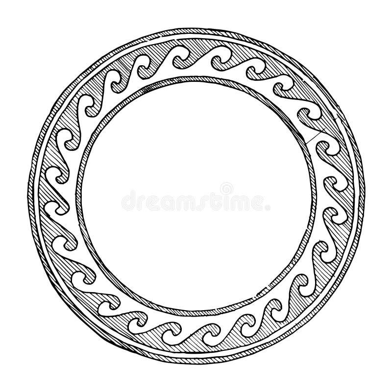 Ornamento rotondo del greco antico illustrazione di stock