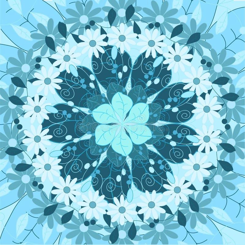 Ornamento rotondo della mandala, motivo indiano etnico arabo tribale, modello geometrico floreale astratto simmetrico circolare illustrazione vettoriale