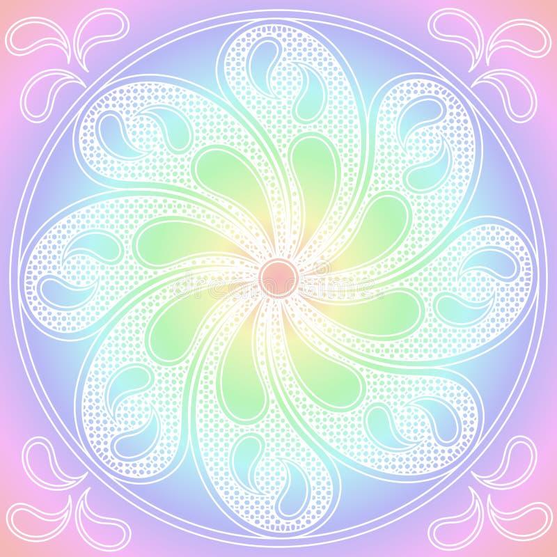 Ornamento rotondo di colori pastelli della mandala illustrazione vettoriale