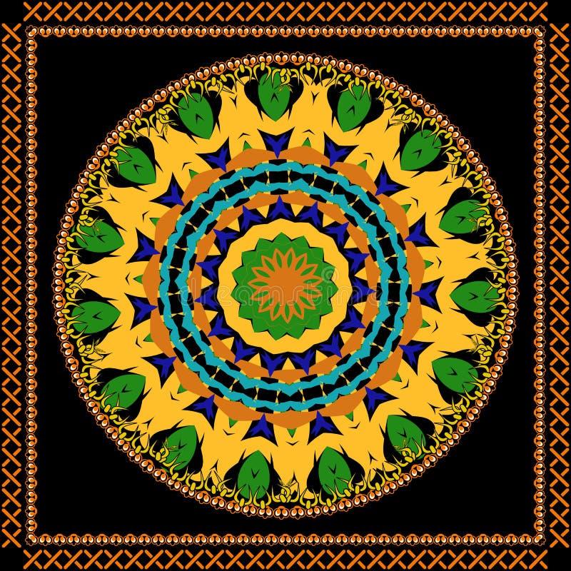 Ornamento rotondo tribale variopinto della mandala dell'estratto Modello etnico multicolore del cerchio di vettore Struttura orna illustrazione vettoriale