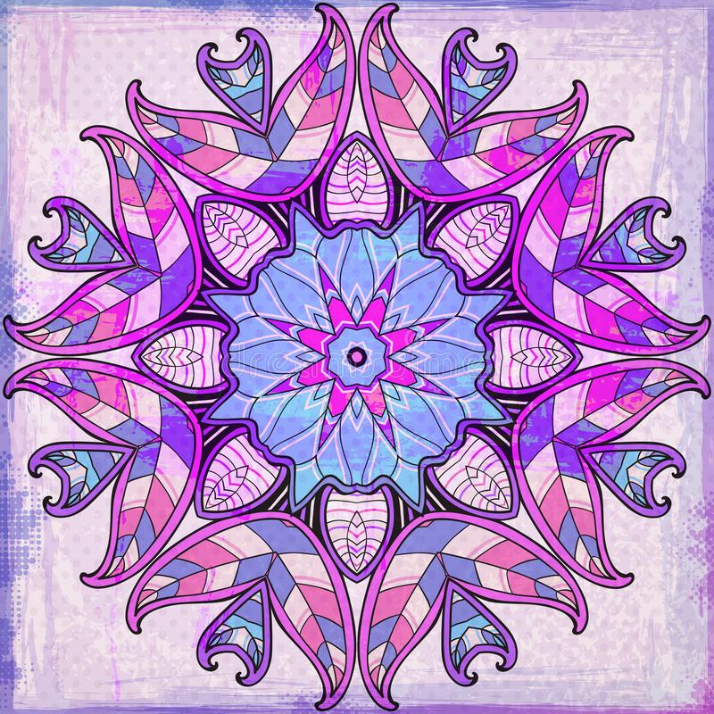 Ornamento rotondo viola su un fondo di lerciume illustrazione di stock