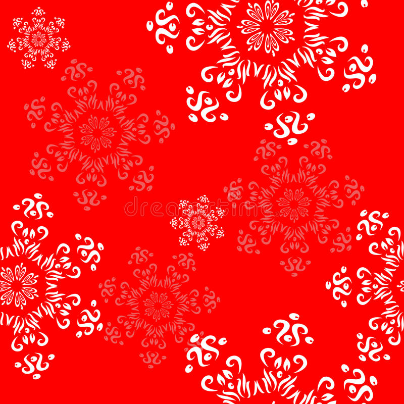 Ornamento sem emenda com flocos de neve decorativos em um vermelho festivo ilustração do vetor