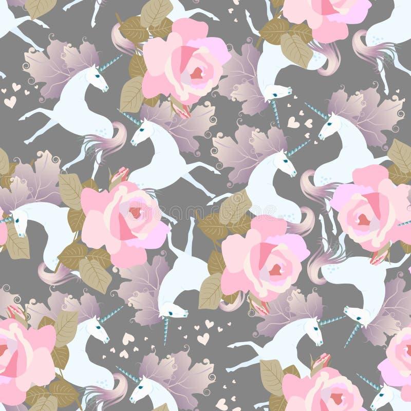 Ornamento sem emenda decorativo com as rosas cor-de-rosa enormes e unicórnios bonitos com jubas na forma das folhas do viburnum C ilustração do vetor