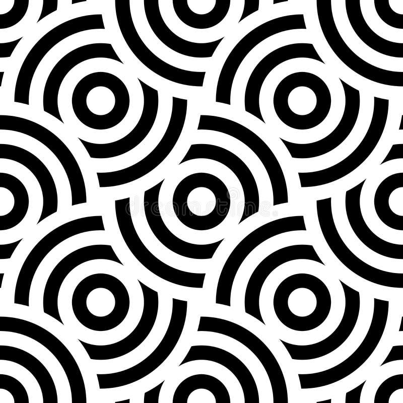 Ornamento sem emenda do fundo do teste padrão de círculos concêntricos listrados Mosaico retro dos arcos em preto e branco Vetor ilustração stock