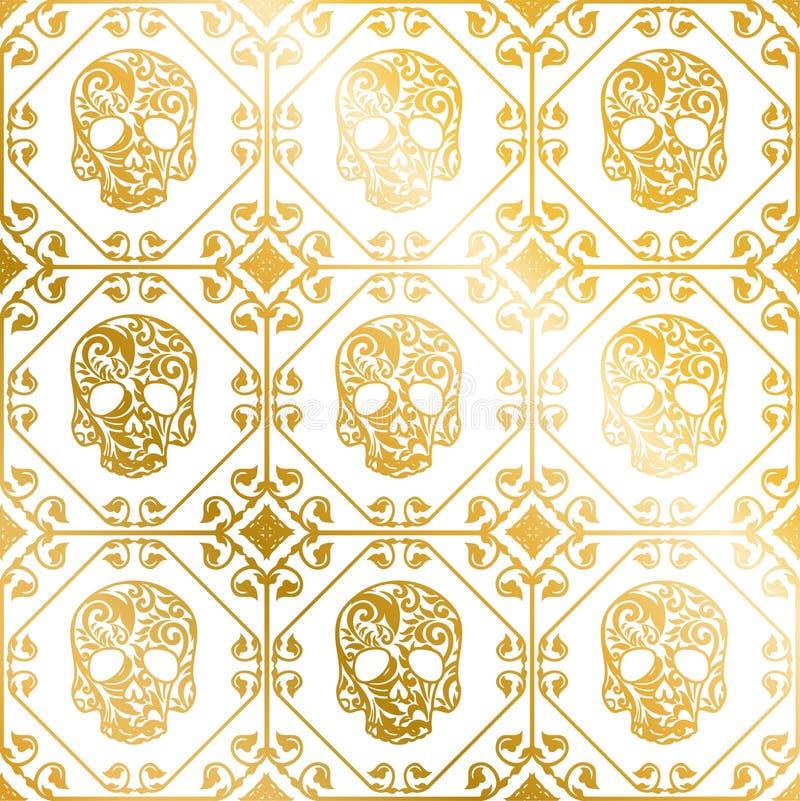 Ornamento sem emenda do ouro dos crânios com teste padrão de flor ilustração stock
