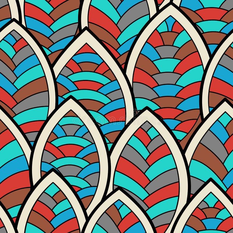 Ornamento sem emenda do outono Ilustração do vetor com folhas estilizados ilustração royalty free