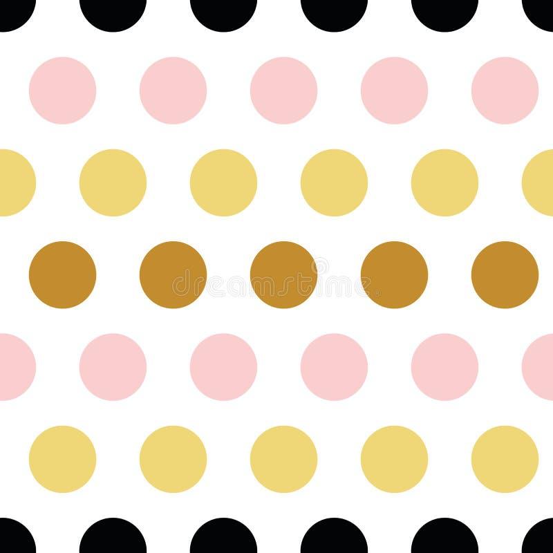 Ornamento sem emenda do sumário do às bolinhas do teste padrão do vetor feito da mão dourada, cor-de-rosa, preta amarela tirada e ilustração royalty free