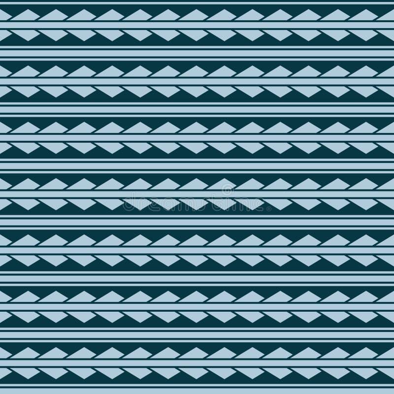 Ornamento sem emenda do teste padrão do rombo dos triângulos do vetor azul maori, étnico, japão, estilo do boho ilustração royalty free