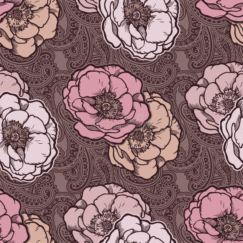 Ornamento sem emenda floral bo?mio bonito de paisley Teste padr?o barroco do estilo da tatuagem com flores cor-de-rosa ilustração stock