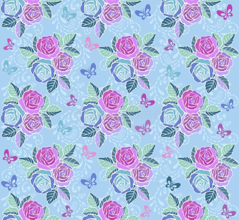 Ornamento sem emenda floral do vintage com borboletas e rosas em um fundo azul Contexto decorativo do ornamento para ilustração do vetor