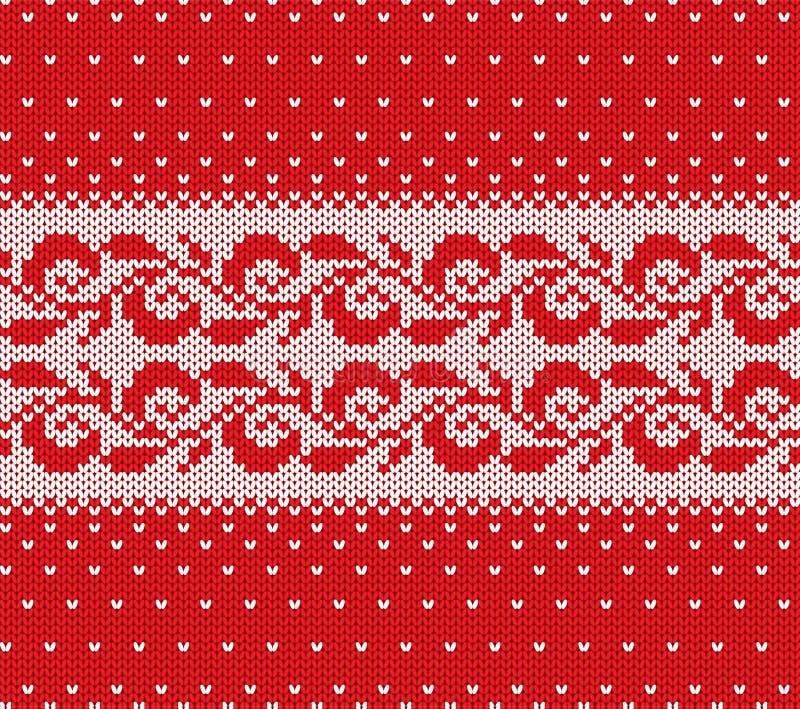 Ornamento sem emenda floral vermelho e branco do Natal feito malha com neve de queda Projeto da textura da camiseta do inverno da ilustração stock