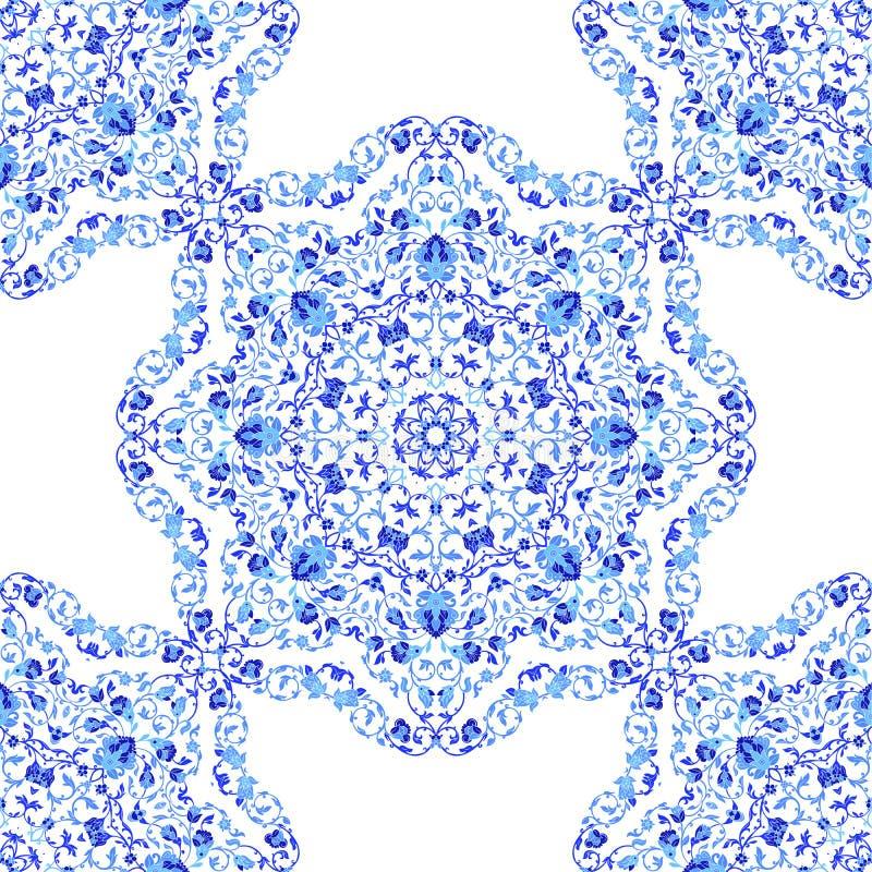 Ornamento sem emenda indiano, teste padrão floral calidoscópico, mandala Projeto feito no estilo e nas cores do gzhel do russo ilustração do vetor
