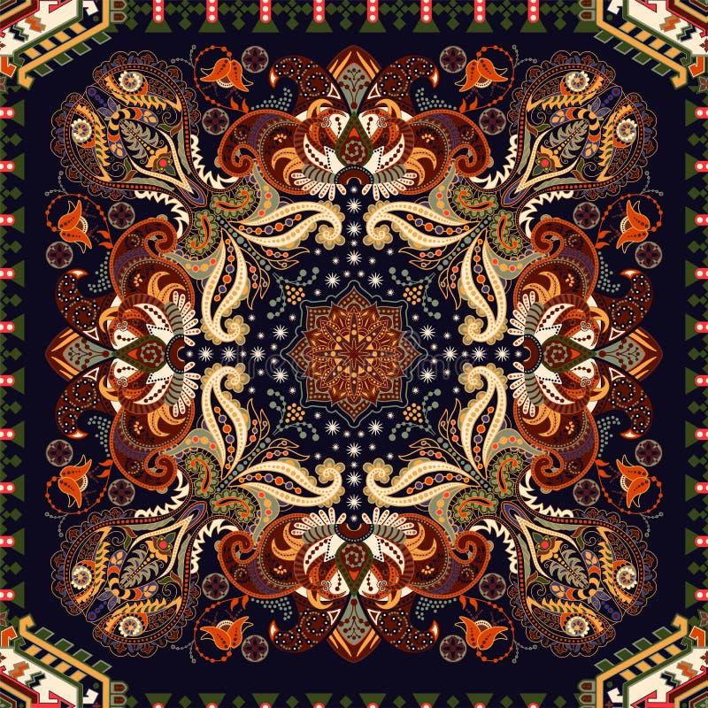 Ornamento sem emenda indiano Teste padr?o sim?trico do vetor, estilo ?tnico Contexto com elementos decorativos grandes Indiano, p ilustração stock