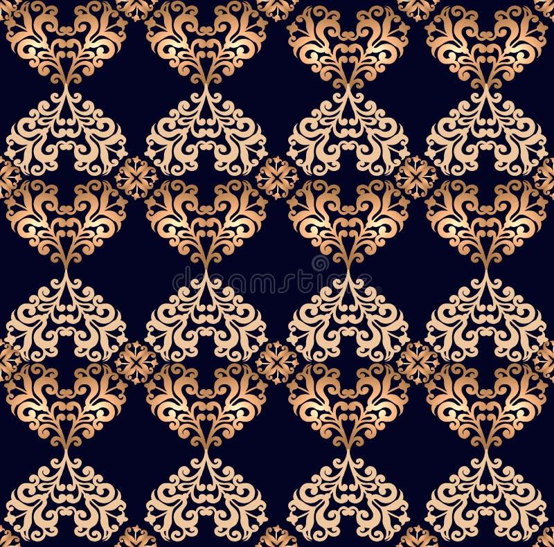 Ornamento senza cuciture dell'oro nello stile barrocco su fondo nero Contesto decorativo dell'ornamento per tessuto, tessuto, avv illustrazione di stock