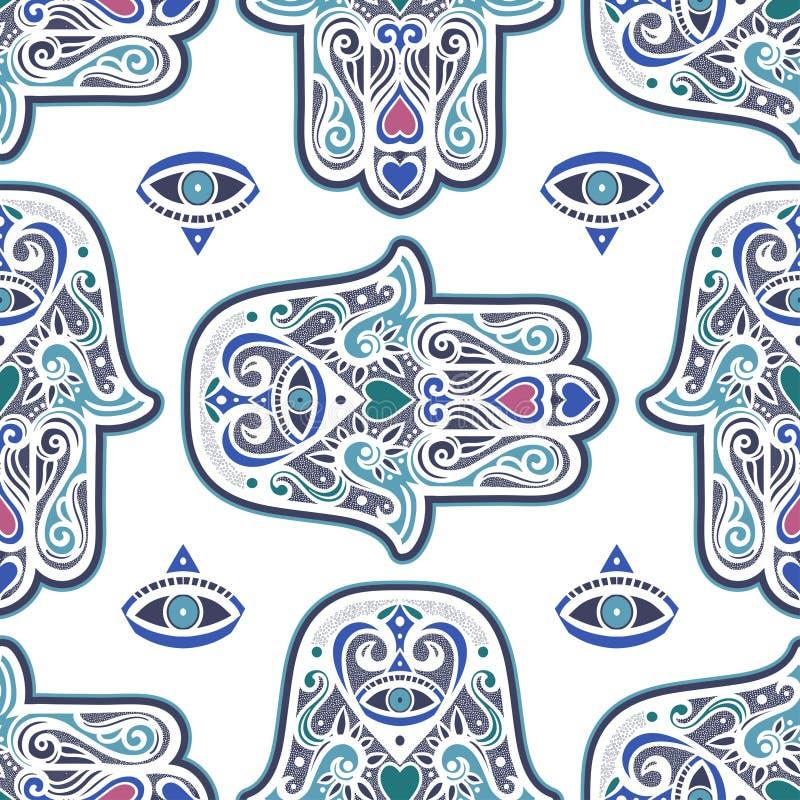 Ornamento senza cuciture della Boemia con il hamsa o mano di Fatima Carta da parati decorata di vettore, arte decorativa di vetto royalty illustrazione gratis