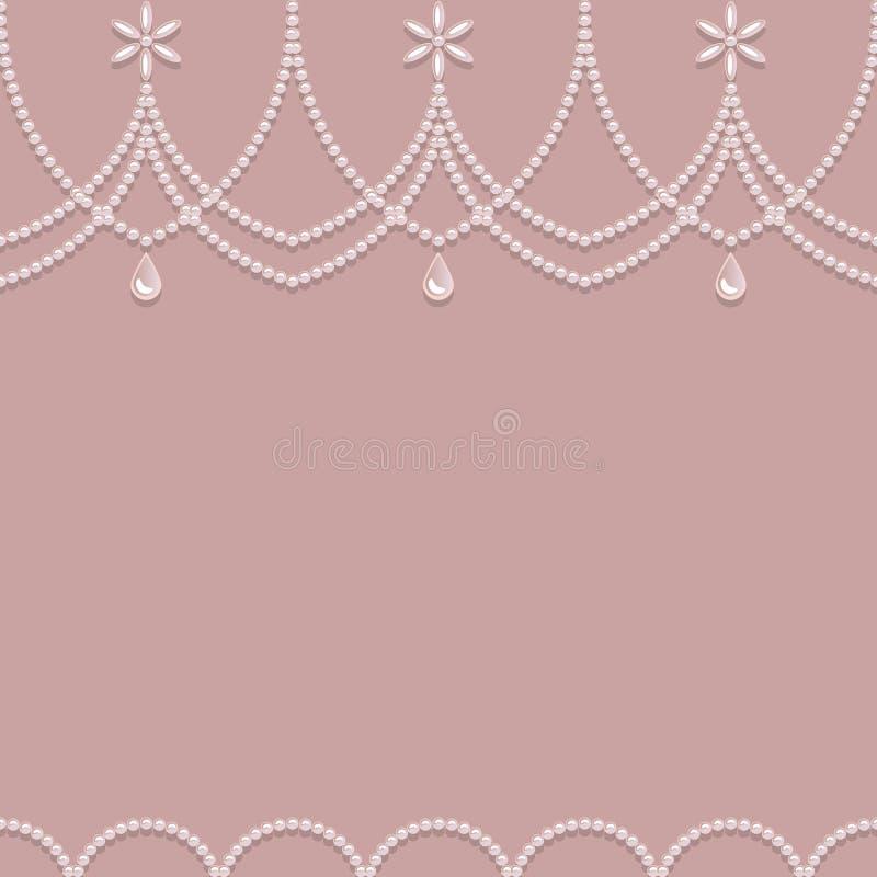 Ornamento senza cuciture della perla su un fondo rosa royalty illustrazione gratis
