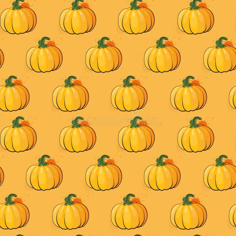 Ornamento senza cuciture di Autumn Harvest Concept Season Fall del fondo del modello della zucca illustrazione vettoriale