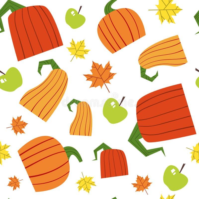 Ornamento senza cuciture di Autumn Harvest Concept Season Fall del fondo del modello della zucca royalty illustrazione gratis