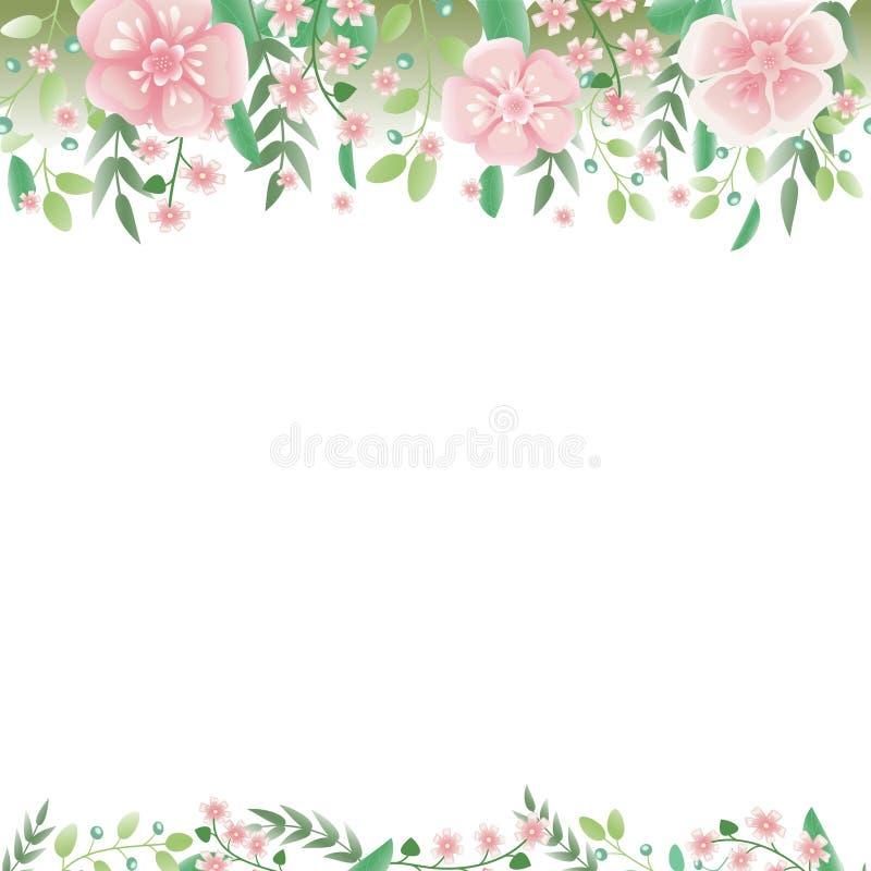 Ornamento senza cuciture orizzontale dalle bacche, rami con i fiori e Liberi per testo illustrazione di stock