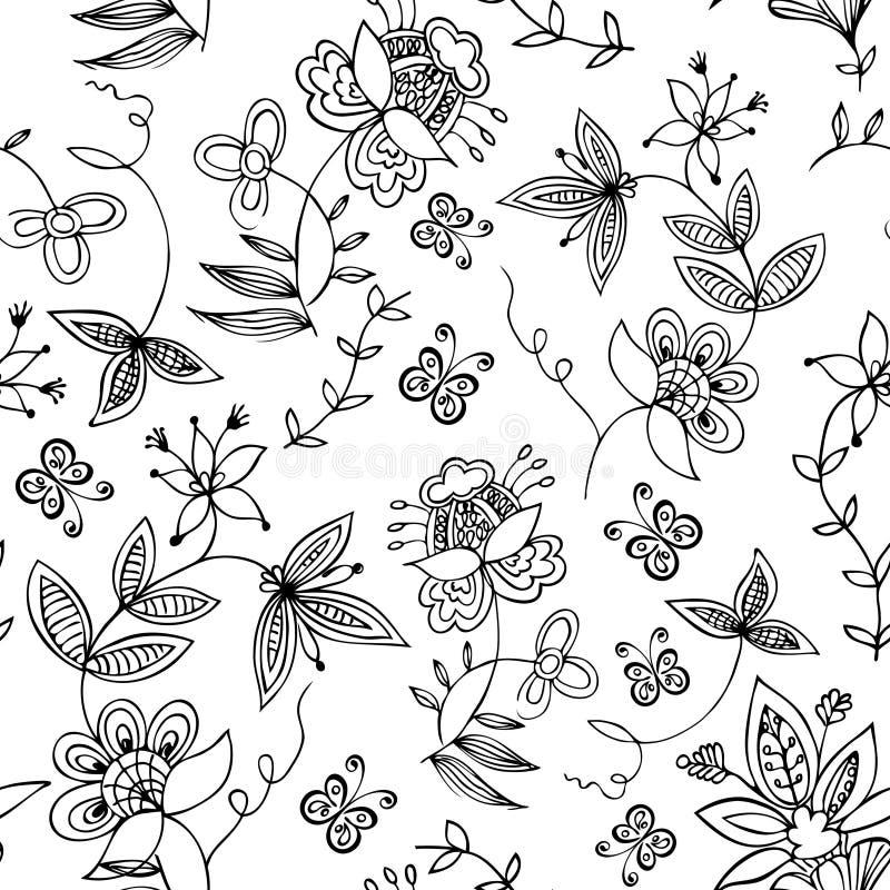 Ornamento senza giunte floreale illustrazione vettoriale