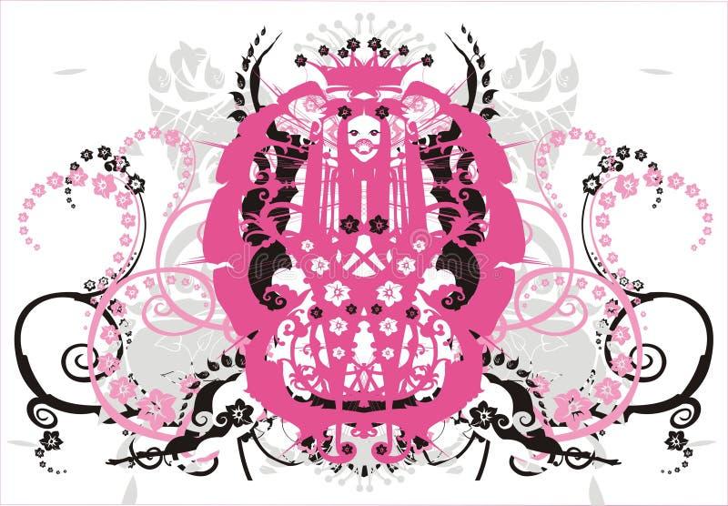 Ornamento simétrico com flores e ondas - vetor ilustração stock