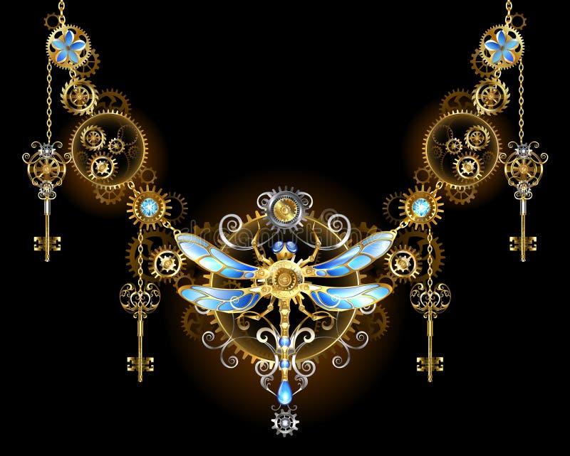 Ornamento simétrico com libélula ilustração stock