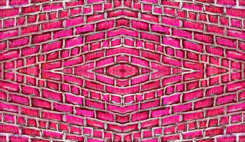 Ornamento simmetrico di struttura disegnata a mano del muro di mattoni immagini stock