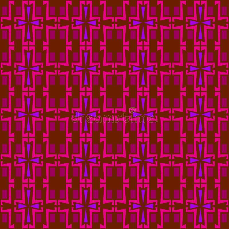 Ornamento simmetrico e senza cuciture del modello per il plaid, panno, coperte nei toni rossi illustrazione di stock