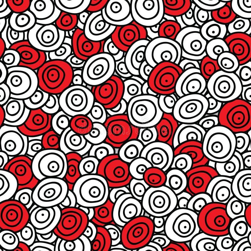 Ornamento stilizzato senza cuciture con i cerchi concentrici di scarabocchio royalty illustrazione gratis
